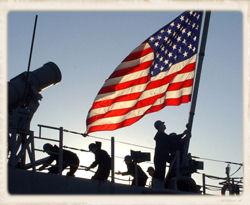 Soliders Raising US Flag