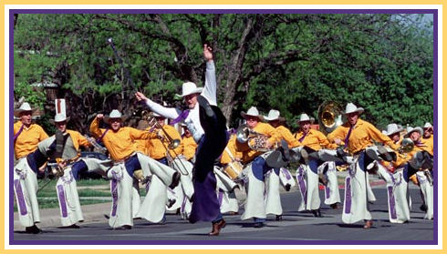 """The World Famous Hardin-Simmons Cowboy Band preforming its trade mark """"cowstep""""."""