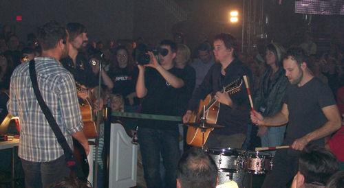 Third Day performing from the middle of the audience.