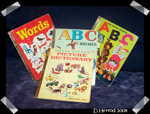 Several of the ABC and word books I had as a child.