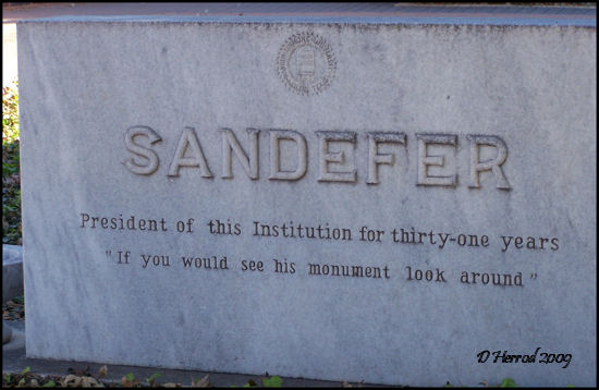 "Memorial for J.D. ""Prexie"" Sandefer."