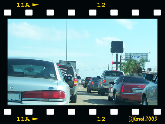 Stuck in Houston traffic.