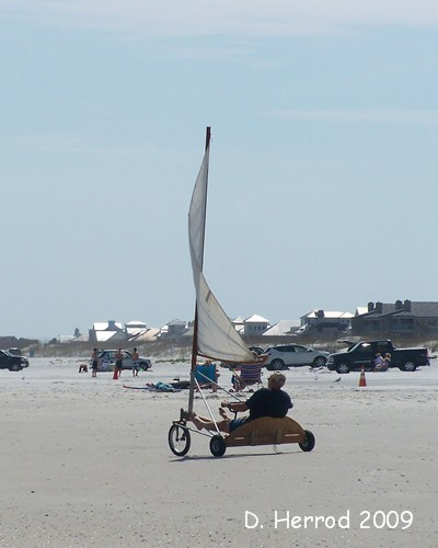 This guy had a windsail kind of car on the beach. It looked like fun.