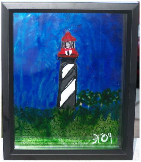 Painted on 2 layers of glass.  Each layer has a differant element of the painting.
