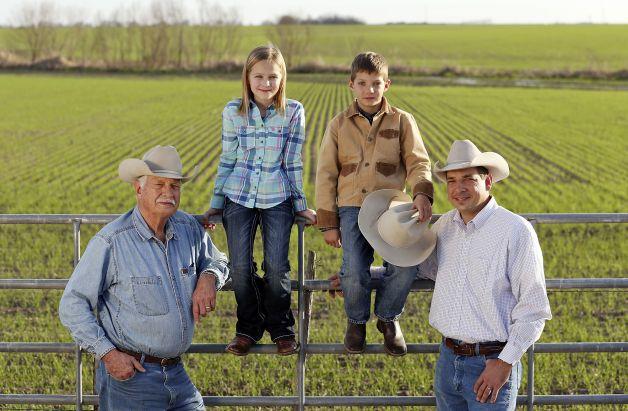 "Members of two Hondo farming families — Kenneth Bendele (from left), Ella Britsch, Brad Bendele and Eric Bendele — were in a Ram Super Bowl commercial. ""I didn't know we were even going to be on TV,"" Eric said.Photo: Edward A. Ornelas, San Antonio Express-News Read more: http://www.mysanantonio.com/news/local_news/article/2-Hondo-families-shocked-to-see-themselves-in-4250800.php#ixzz2K5S94abB"