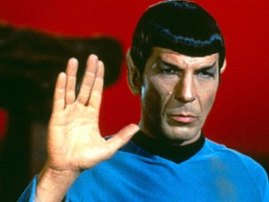 Mr. Spock, part human and part Vulcan from Star Trek