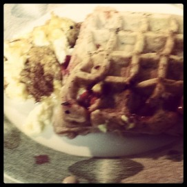 Cherry Cheesecake Waffles -- Sorry the picture is blurry. I was hungry.
