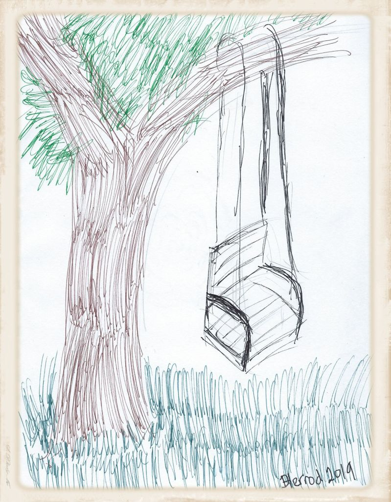 Pen and ink drawing of a tree swing