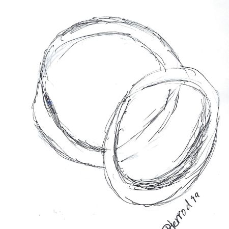 Ink drawing of wedding rings