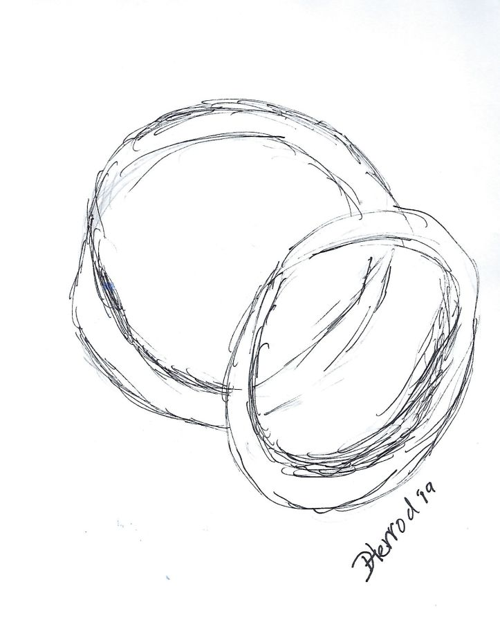 Ink drawing of wedding rings