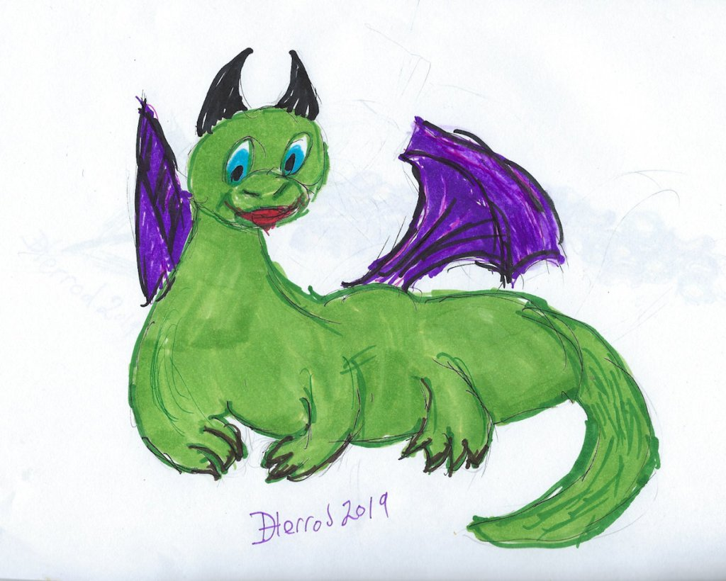 Green with purple winged dragon cartoon.