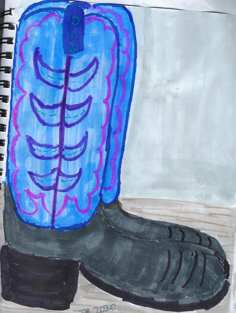 Blue boots in ink